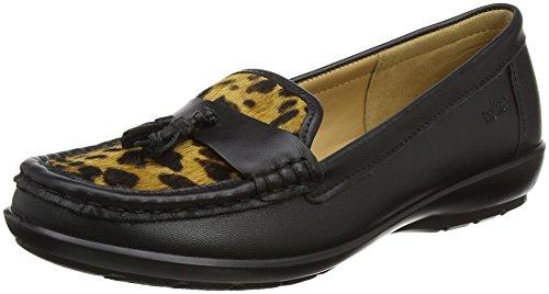 Hotter Women Abbeyville Loafers, Yellow (Black-Leopard), 4 UK 37 EU