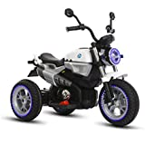 GetBest Nine-t Ride on bike for Kids with 12V Battery and Hand Accelerator, White