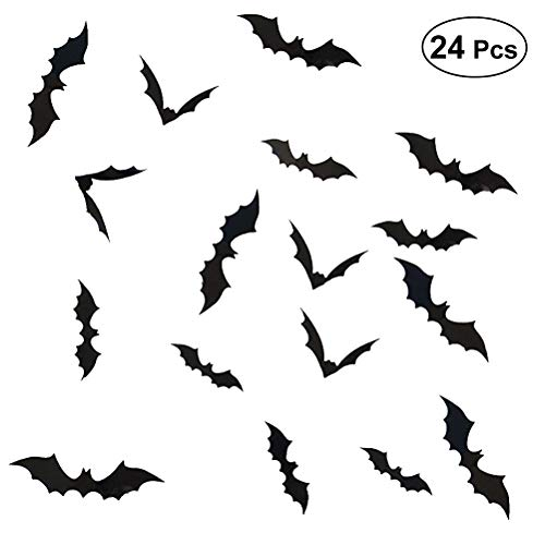SUPVOX 3D Fledermäuse Aufkleber Halloween Wanddekorationen Scary Fledermäuse Fenster Dekor Home Party Supplies 24 PCS (Scary Party Supplies)