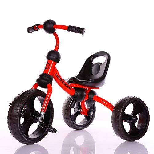 Little Bambino Tre Ruote a Pedale Triciclo per Bambini | Trike per Toddler età da 3 a 6 Anni | Outdoor Ride-On Bicicletta | Sedile Regolabile (Rosso)