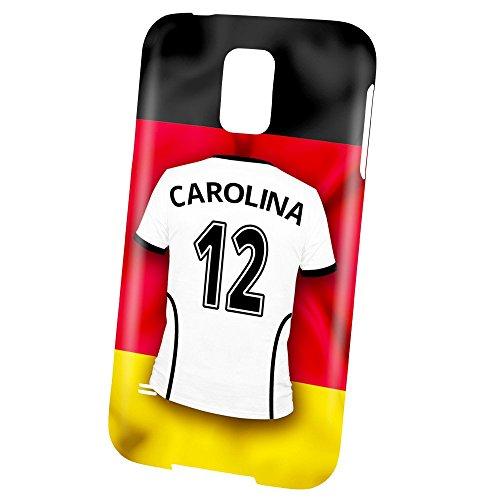 PhotoFancy Samsung Galaxy S5 Handyhülle Premium – Personalisierte Hülle mit Namen Carolina – Case mit Design Fußball-Trikot Deutschland zur WM in Russland 2018