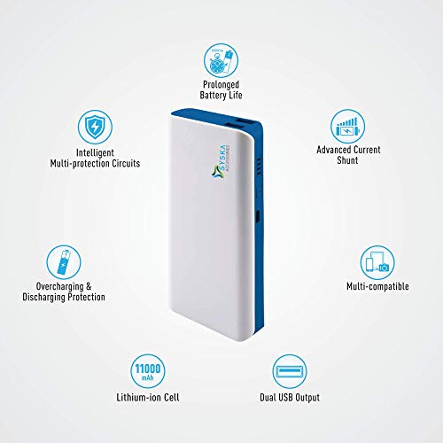 Syska X110 11000 mAh Power Bank (White-Blue)