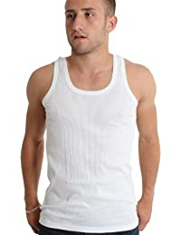 Brubaker doppelripp basics pour homme men maillot de corps pour homme 100%  coton peigné blanc-lot de 4