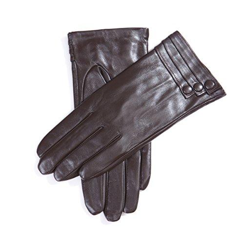 MATSU M9213 Gants en cuir Mode Femme Hiver Brown-Non TouchScreen