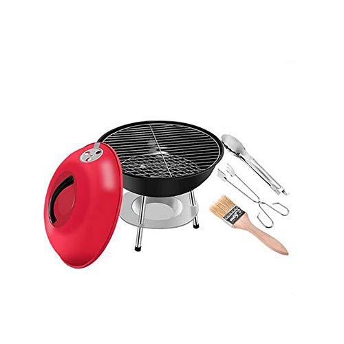 Kehuitong Parrilla exterior para el hogar Parrillas de carbón Mini parrilla de barbacoa portátil con una tapa del estofado de horno de estante circular pequeño Parrilla exterior de alta calidad