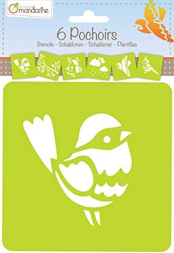 Avenue Mandarine 42840O Set (mit 6 Schablonen, 15 x 15 cm, geeignet für Kinder ab 3 Jahre, für Filz- und Farbstifte, Farben oder Farbbomben, Garten) 6er Pack -