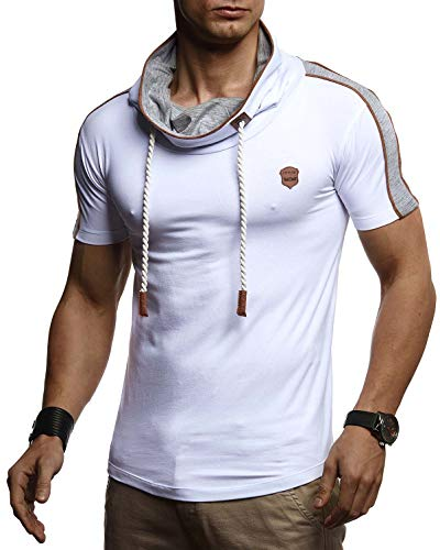 LEIF NELSON Herren Sommer T-Shirt Slim Fit Basic Baumwolle-Anteil | Basic Männer Kapuzenshirt Vintage | Jungen Kurzarmshirt Hoodie-Sweatshirt Kurzarm lang | LN4850 Weiß Small
