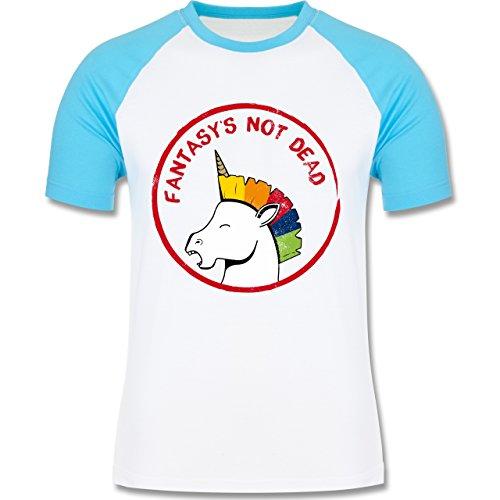 Comic Shirts - Fantasy's not dead Punk Einhorn - zweifarbiges Baseballshirt für Männer Weiß/Türkis