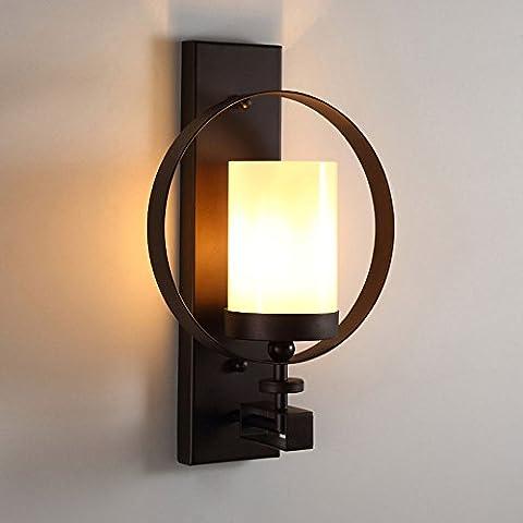 Pumpink American Style Simple Iron Quality Lampe en verre Lampe murale Retro Salon Fond Décoration murale Lampes murales Simple tête Créativité Personnalité Couloir Balcon Alarme Mur Applique
