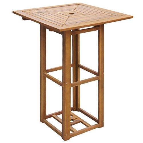 Tidyard Table de Bar/Table de Salle À Manger d'Extérieur (avec Trou de Parasol) pour Jardin/Terrasse/Patio en Bois d'Acacia Style Naturel 75 X 75 X 110 Cm