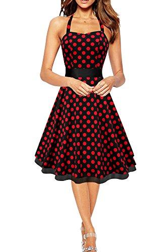 Black Butterfly 'Rhya' Vintage Polka-Dots Kleid im 50er-Jahre-Stil (Schwarz - Rote Punkte, EUR 38 - S)