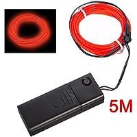 SODIAL(R) Rojo suave neon EL cable de baile partido decoracion 5M + Controlador
