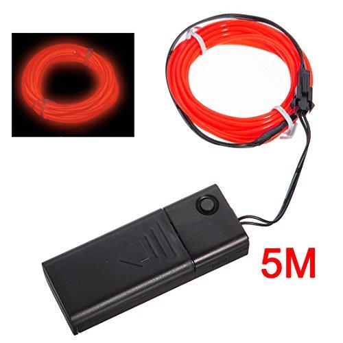 SODIAL(R)Rouge flexible Fil EL Neon Light 5M Dance Party Decor + Controller