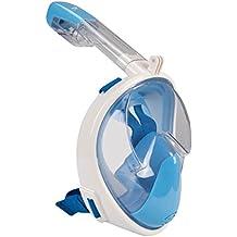 Elite o & S Snorkel máscara para adultos y niños Full Face antiniebla diseño de linternas Snorkel Snorkeling con EASYBREATH 180° panorámicas Snorkel máscara, Blue (S/M)