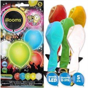 (Illooms LED-Luftballons Party-Deko 5er-Set Sommer Gemischt bunt 23cm Einheitsgröße)