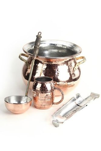 feuerzangenbowlen set CopperGarden® SET ? Feuerzangenbowle aus Kupfer ? verzinnt ? Kessel, Feuerzange, Kelle, Tasse & Zuckerhut