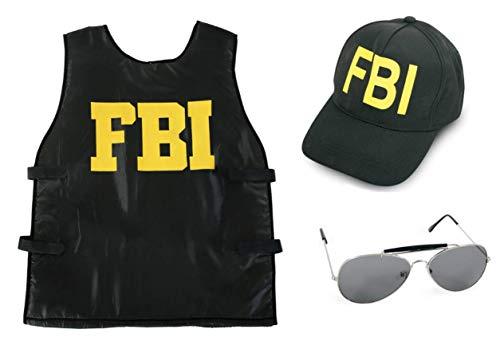 KarnevalsTeufel Kostüm - Set FBI für Kinder | 3-TLG. FBI-Weste, FBI-Mütze und Sonnenbrille | Agent, Geheimermittler, Security, Polizei, SWAT (140)