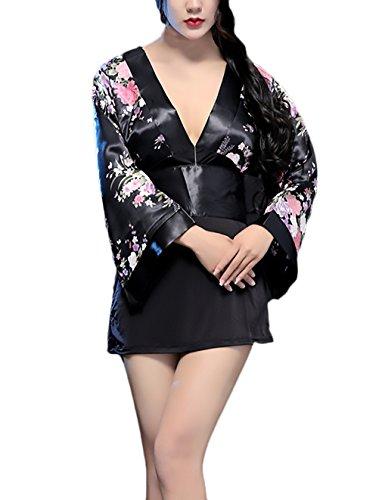 Damen Dessous Erotik Japan Kimono Kleid Festival Cosplay Kostüm Langarm Tiefem V-Ausschnitt Classic Unikat Vintage Blumendrucken Unterwäsche Negligee Nachtkleid (Color : Schwarz, Size : One Size)