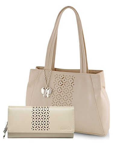 Butterflies Women's Handbag and Wallet Combos' (Cream) (BNS WB0271)
