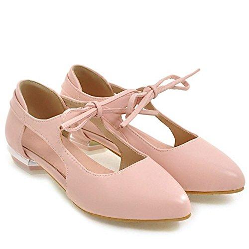 COOLCEPT Femme Mode Lacets Sandales Plat Talon bas Bout Ferme Chaussures Taille Rose