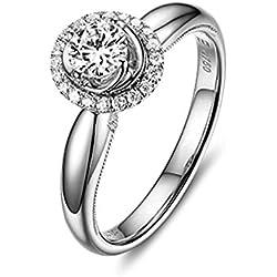 Gnzoe 18K (750) Oro Mujeres Anillo de Diamante Anillo Solitario Anillos de Aplicaciones Corona Flores Plata con Blanco Azul 0.2ct Diamante Tamaño 9,5