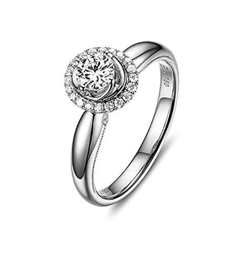 Bishilin Echtschmuck 18 Karat (750) Weißgold Damen Ring Diamantring 0.5 Karat, D-E, VS, Weißgoldring Verlobungsring Eheringe Größe 58 (18.5)