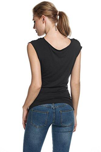 begorey Damen Ärmellos Shirt mit Wasserfallausschnitt Casual Alltag Top Schwarz Schwarz