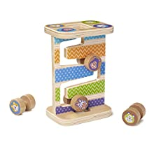 Melissa & Doug 40125 Safari Zig-Zag First Play Wooden Tower with 4 Rolling Pieces Playset, Multi-Colour