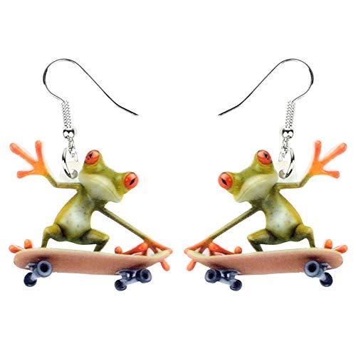 HBHBS Acryl Cartoon Skateboard Frosch Ohrringe Tropfen Baumeln Big Long Sport Schmuck Für Frauen Mädchen Teens Großhandel