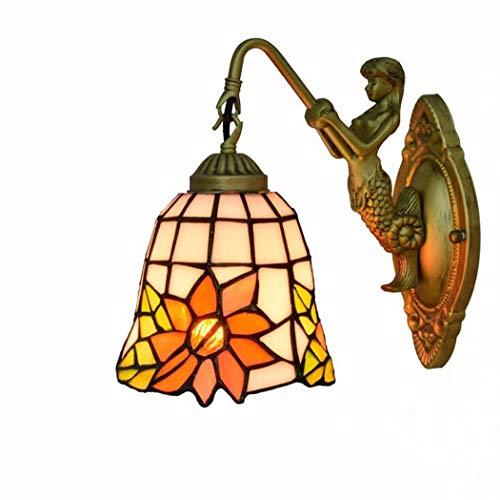 Vintage Tiffany Style Wandlampe, 5,9 Zoll Sun Flower Pattern Glasmalerei Wandleuchte für Schlafzimmer Nacht Korridor, E27, 110-240V
