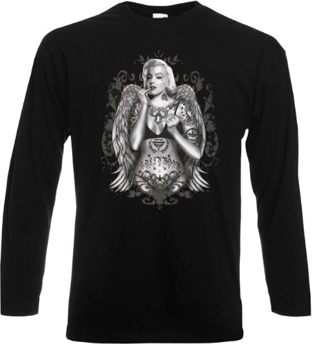 Herren Langarm-Shirt ::: Tattoo Marilyn Monroe with Wings ::: für MM-Fans Schwarz