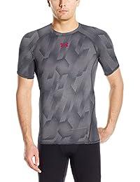 Under Armour UA HG Armour Printed SS Camiseta Deporte, Men, Gris (True Gray Heather), XL