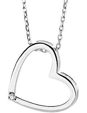 Miore Damen-Halskette mit Herzanhänger 375 Weißgold 45 cm 1 Brillant weiß