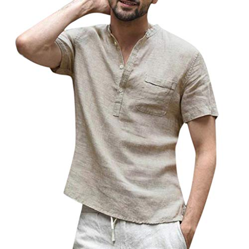 ZHANSANFM Leinenhemd Herren Kurzarm V-Ausschnitt Hemd Sommer Leicht Button Down Regular Fit Henley Freizeithemd (M, Khaki) - Button-down V-neck T-shirt