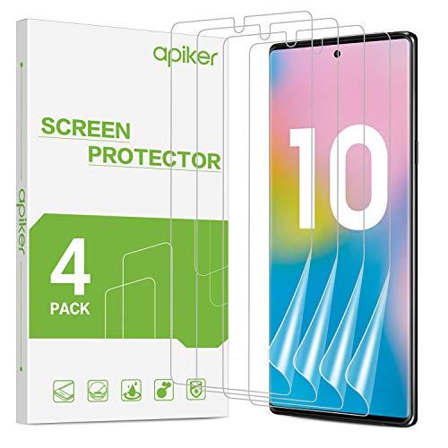 apiker Film Protection Ecran Compatible avec Samsung Galaxy Note 10/ Note10 2019 (4 Pack), Film en TPU Souple, Haute Sensibilité Tactile, S Pen Compatible