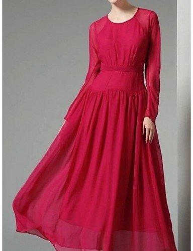 PU&PU Robe Aux femmes Ample Simple,Couleur Pleine Col Arrondi Maxi Polyester RED-M