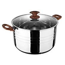 Royalford Induction-Safe Stainless Steel Casserole Pot with Lid - Perfect for Soups, Stews & Casseroles – Large Family Size Cooking Stockpot - Sturdy Wood-Finish Handles & Knob Steel - 32 x 17.5 cm