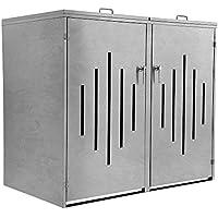 Zelsius – Caja para contenedores de Basura con diseño de Rayas para 2 contenedores de 120 o 240 litros Cada uno, Revestimiento para contenedores con 2 Tapas abatibles, Caja de Metal con Cerradura