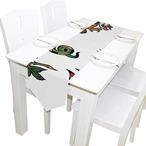 Tattoo Flash Dresser Schal Tuch Abdeckung Tischläufer Tischdecke Tischset Küche Esszimmer Wohnzimmer Home Hochzeitsbankett Decor Indoor 13x90 Zoll ()