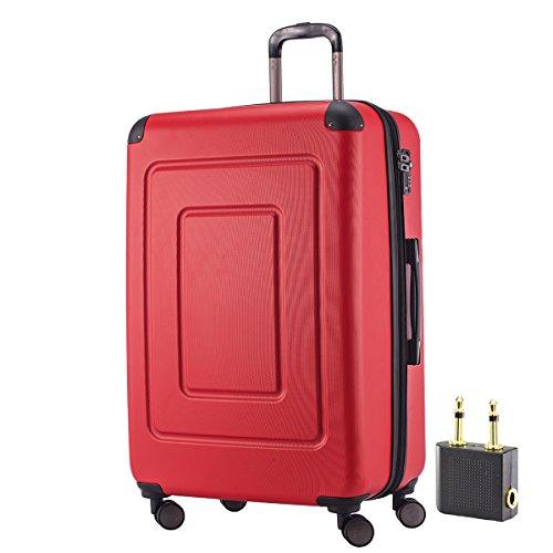HAPPY TROLLEY by HAUPTSTADTKOFFER® 123 Liter XL Reisekoffer · LUGANO · TSA · MATT · (in versch. Farben) + LogiLink® Flugzeug Audio Adapter (Rot)