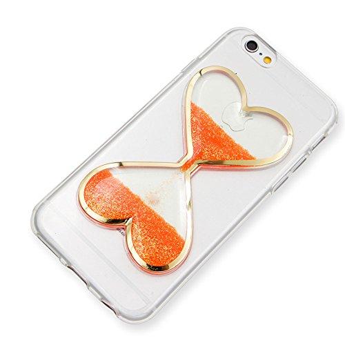 Custodia Bumper per iPhone 7 Plus 5.5 Case cover,Herzzer mode Liquido trasparente design Coquille 3D protezione Dual Layer Shell Liquid,amore cuore love Giallo Clessidra Unico Molto sottile Modeling  arancione