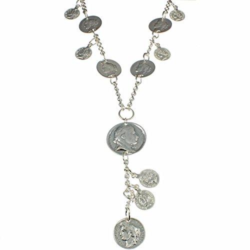 Schmuck Römischen Kostüm - Auffallend Kostüm Schmuck geschoben Silber Farbe Römische Münze Charm Anhänger Lange Halskette