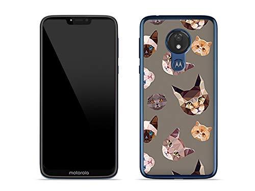 Hülle für Motorola Moto G7 Power - Hülle Fantastic Case - Geometrische Katzen Handyhülle Schutzhülle Etui Case Cover Tasche für Handy