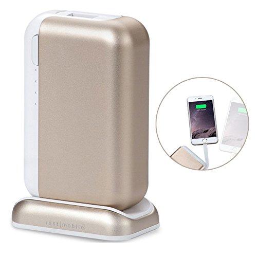 Just Mobile Top Gum++ Power Pack portatile in alluminio con cavo lightning - Power Bank per iPhone / Smartphone 6000mAh - Uscita lightning (Max 5V / 2.4A) e porta USB (5V / 1A) - Colore Oro