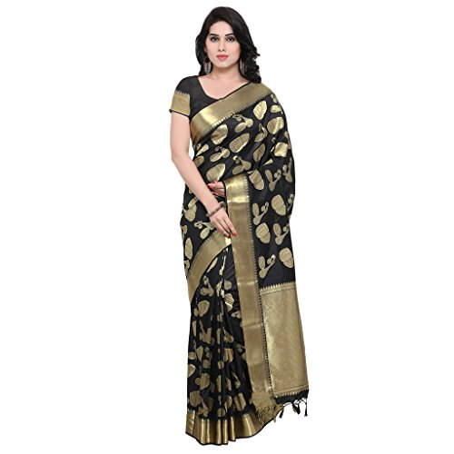 Varkala Silk Sarees Women Art Silk Kanchipuram Saree (JB5011BL_Black_Free size)