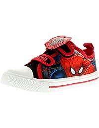 NUEVO Menor Niños / infantil rojo / Azul Spiderman Zapatillas De Lona - rojo / Azul - GB Tallas 1-13