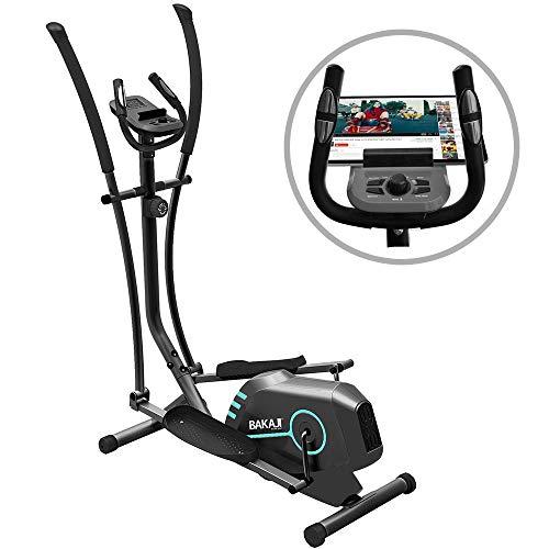 BAKAJI Ellittica Allenamento Fitness Cardio Gambe Pancia Fianchi Cyclette Bike con Display LCD e Supporto Smartphone Struttura in Acciaio Inox