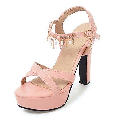 LvYuan Sandali-Formale Casual Serata e festa-Comoda Innovativo-Quadrato-Materiali personalizzati Finta pelle-Nero Rosa Bianco Pink