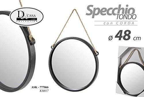 GICOS IMPORT EXPORT SRL Specchio Tondo con Corda Colore Nero ⌀48 cm da Parete ASK-777066
