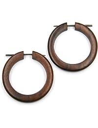 Pendientes de madera aros grandes madera de grano bicolor tamaño aprox. Pendientes de madera de madera de 5 cm precio de producto natural par de joyas